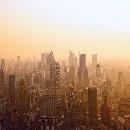 Aerial view of Shanghai at sunset, China